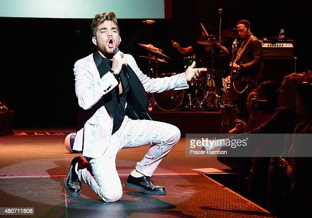 Singer Adam Lambert performs at Miami Magazine's Splashion At Fillmore Miami Beach at Fillmore Miami Beach on July 14 2015 in Miami Beach Florida