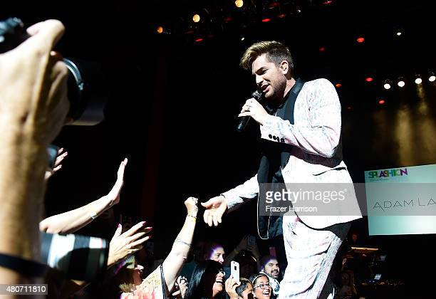 Singer Adam Lambert performs at Miami Magazine's Splashion At Fillmore Miami Beach at Fillmore Miami Beach on July 14 2015 in Miami Beach Florida