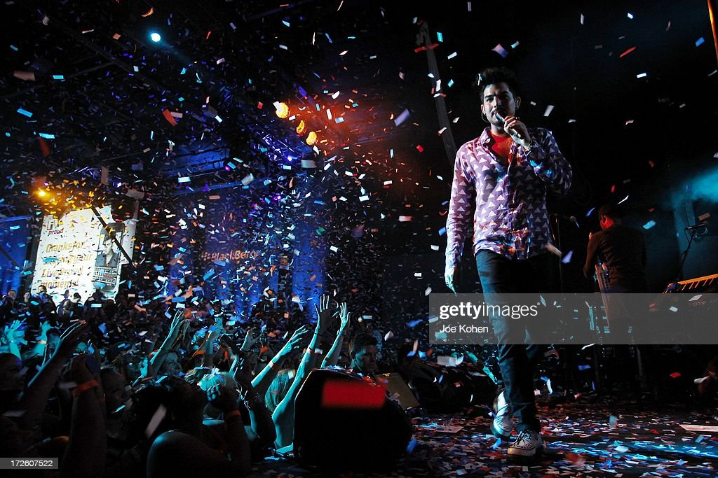 Singer Adam Lambert performs live at Playhouse Hollywood on July 3, 2013 in Los Angeles, California.