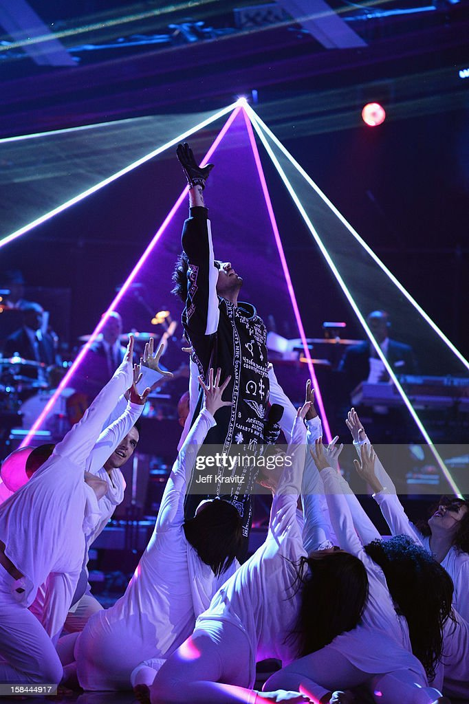 Singer Adam Lambert performs on stage at 'VH1 Divas' 2012 at The Shrine Auditorium on December 16, 2012 in Los Angeles, California.