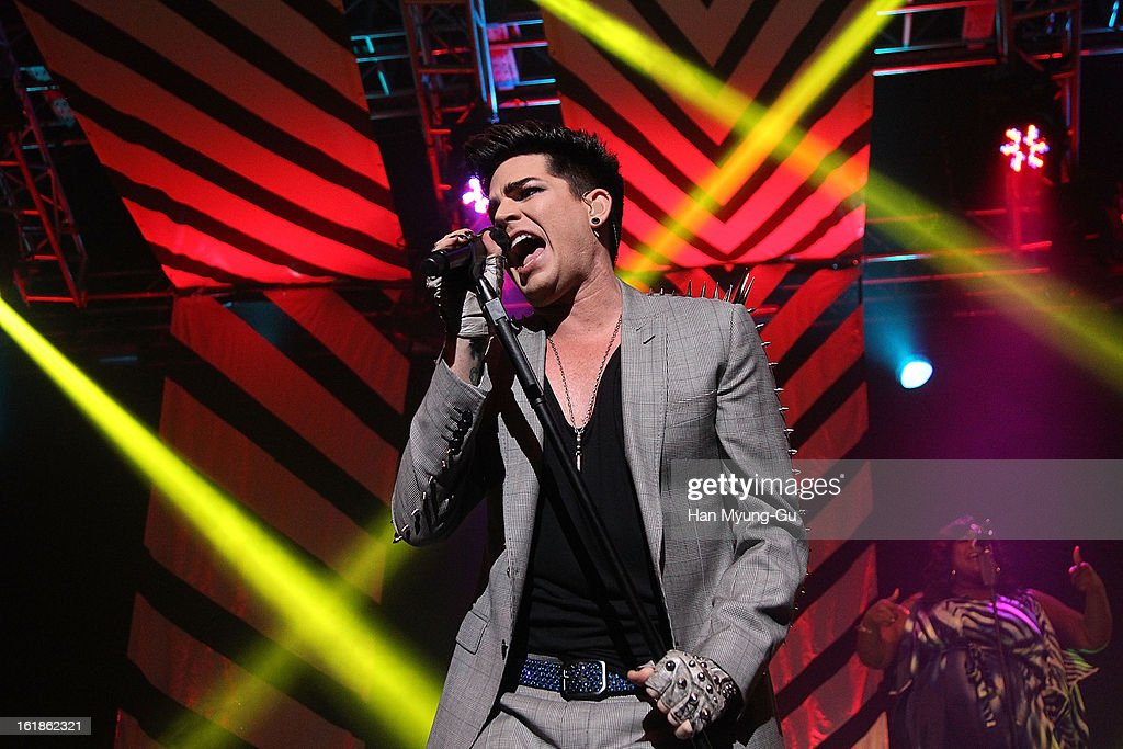 Singer <a gi-track='captionPersonalityLinkClicked' href=/galleries/search?phrase=Adam+Lambert&family=editorial&specificpeople=5706674 ng-click='$event.stopPropagation()'>Adam Lambert</a> performs onstage at Uniqlo-AX Hall on February 17, 2013 in Seoul, South Korea.