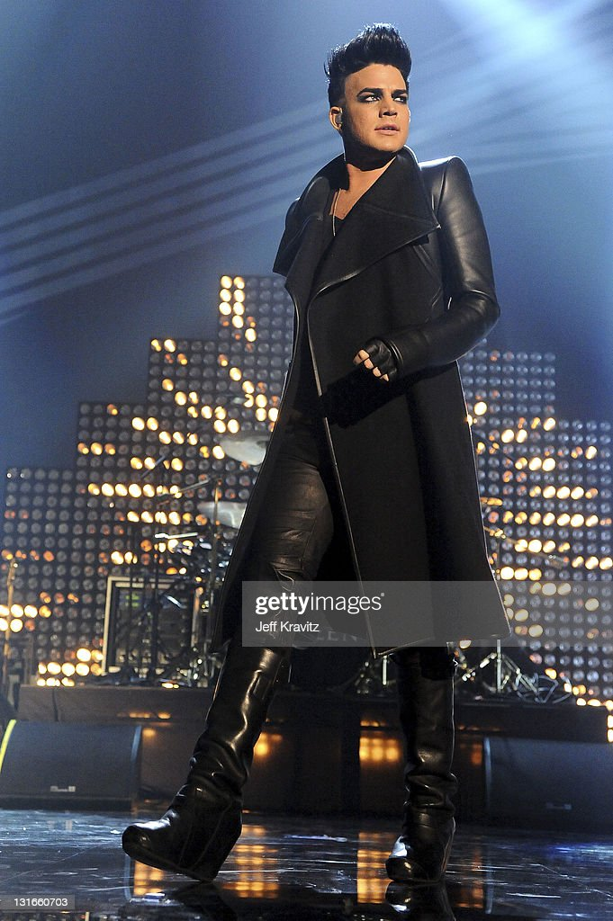 Singer Adam Lambert performs onstage during the MTV Europe Music Awards 2011 live show at at the Odyssey Arena on November 6 2011 in Belfast Northern...