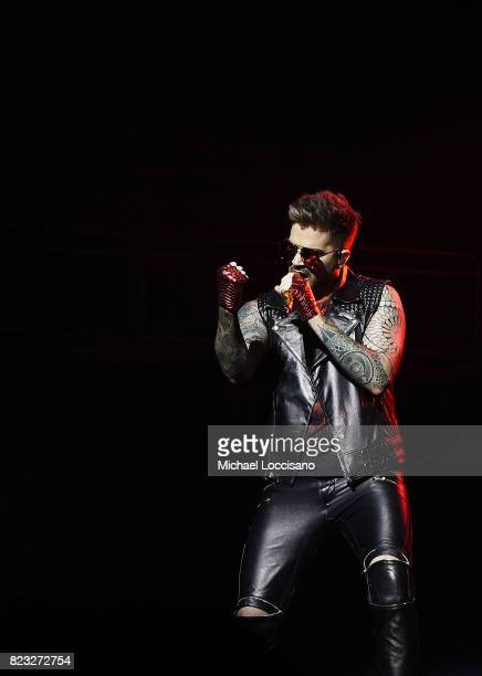 Singer Adam Lambert performs with Queen at Prudential Center on July 26 2017 in Newark New Jersey