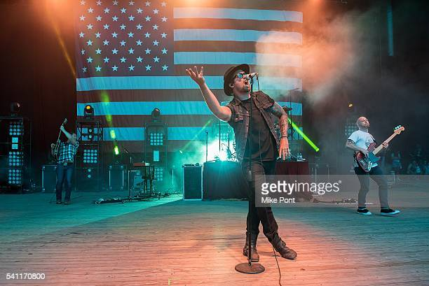 Singer Adam Lazzara of the band Taking Back Sunday performs during the Rockstar Energy Drink Taste of Chaos Tour at Nikon at Jones Beach Theater on...