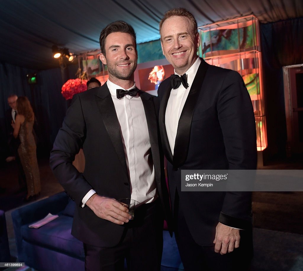 Singer Adam Levine and Chairman of NBC Entertainment Robert 'Bob' Greenblatt attend Universal, NBC, Focus Features and E! Entertainment 2015 Golden Globe Awards After Party sponsored by Chrysler and Hilton at The Beverly Hilton Hotel on January 11, 2015 in Beverly Hills, California.