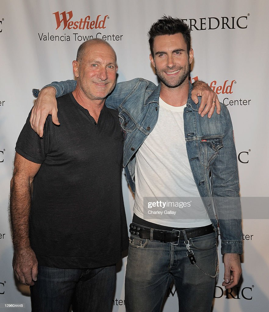 Singer <a gi-track='captionPersonalityLinkClicked' href=/galleries/search?phrase=Adam+Levine+-+Singer&family=editorial&specificpeople=202962 ng-click='$event.stopPropagation()'>Adam Levine</a> (R) and M. Fredric co-owner Fred Levine attend the grand opening of M. Fredric at Westfield Valencia Town Center on October 18, 2011 in Valencia, California.