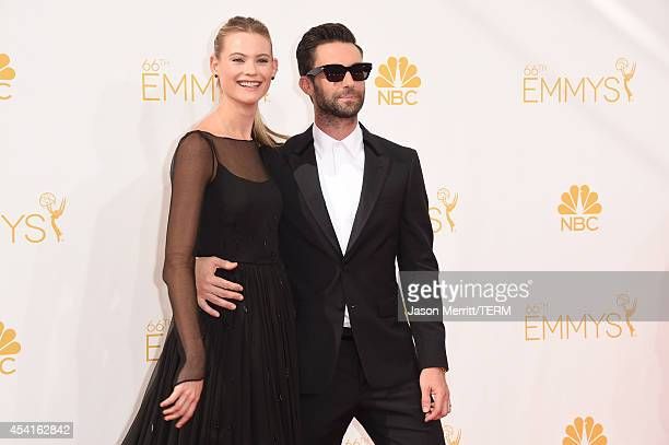 Singer Adam Levine and model Behati Prinsloo attend the 66th Annual Primetime Emmy Awards held at Nokia Theatre LA Live on August 25 2014 in Los...