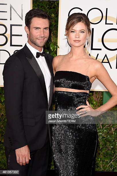 Singer Adam Levine and model Behati Prinsloo attend the 72nd Annual Golden Globe Awards at The Beverly Hilton Hotel on January 11 2015 in Beverly...