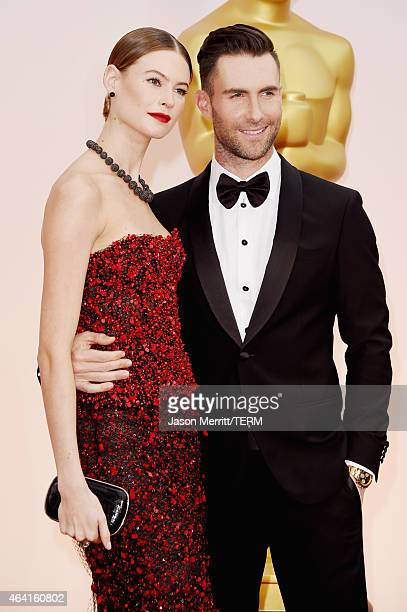 Singer Adam Levine and model Behati Prinsloo attend the 87th Annual Academy Awards at Hollywood Highland Center on February 22 2015 in Hollywood...