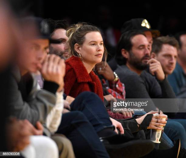 Singer Adam Levine attends a basketball game between Houston Rockets and Los Angeles Lakers with his wife model Behati Prinsloo at Staples Center...