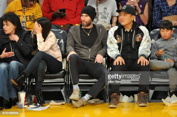 Singer Adam Levine attends a basketball game between the Los Angeles Lakers and the Denver Nuggets at Staples Center on November 19 2017 in Los...