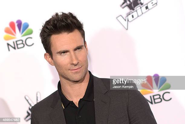 Singer Adam Levine attends NBC's 'The Voice' Season 7 Red Carpet Event at Universal CityWalk on November 24 2014 in Universal City California