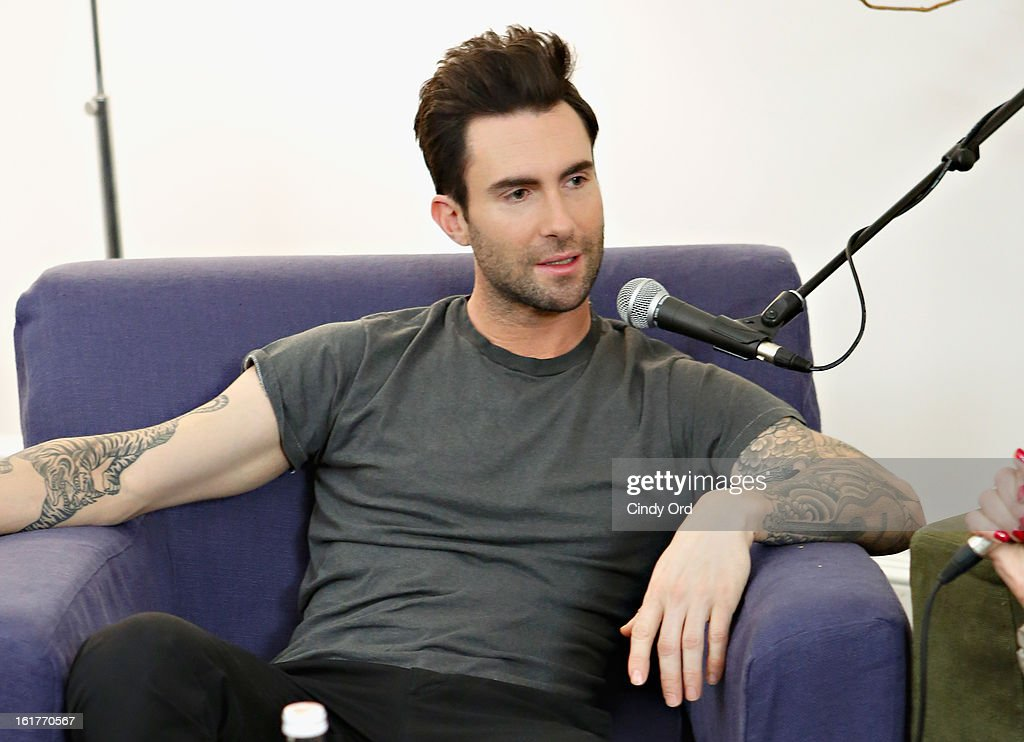 Singer Adam Levine is interviewed exclusively by Danielle Monaro of 'Elvis Duran and the Morning Show' at The Mercer Hotel on February 15, 2013 in New York City.