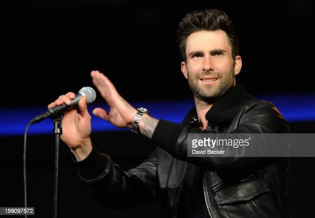 Singer Adam Levine of Maroon 5 arrives to perform during a keynote address at the 2013 International CES at The Venetian on January 7 2013 in Las...