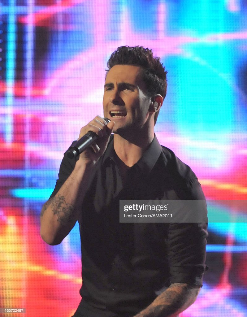 Singer <a gi-track='captionPersonalityLinkClicked' href=/galleries/search?phrase=Adam+Levine+-+Singer&family=editorial&specificpeople=202962 ng-click='$event.stopPropagation()'>Adam Levine</a> of Maroon 5 onstage at the 2011 American Music Awards held at Nokia Theatre L.A. LIVE on November 20, 2011 in Los Angeles, California.