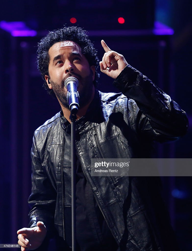 Singer <a gi-track='captionPersonalityLinkClicked' href=/galleries/search?phrase=Adel+Tawil&family=editorial&specificpeople=852125 ng-click='$event.stopPropagation()'>Adel Tawil</a> performs on stage during the 'Wetten, dass..?' TV Show from Dusseldorf at the ISS Dome on February 22, 2014 in Duesseldorf, Germany..
