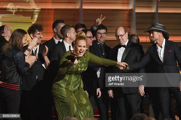 Singer Adele accepts the award for Album of the Year for '25' onstage during The 59th GRAMMY Awards at STAPLES Center on February 12 2017 in Los...