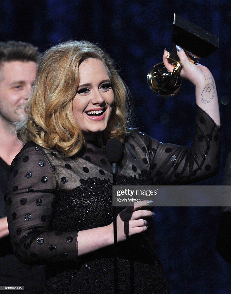 Singer <a gi-track='captionPersonalityLinkClicked' href=/galleries/search?phrase=Adele+-+Singer&family=editorial&specificpeople=4898935 ng-click='$event.stopPropagation()'>Adele</a> accepts the award for 'Album of the Year' onstage at the 54th Annual GRAMMY Awards held at Staples Center on February 12, 2012 in Los Angeles, California.