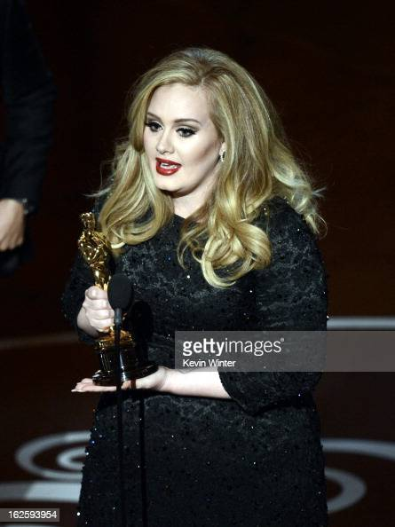 Singer Adele Adkins accepts the Best Original Song award for Skyfall from 'Skyfall' onstage during the Oscars held at the Dolby Theatre on February...