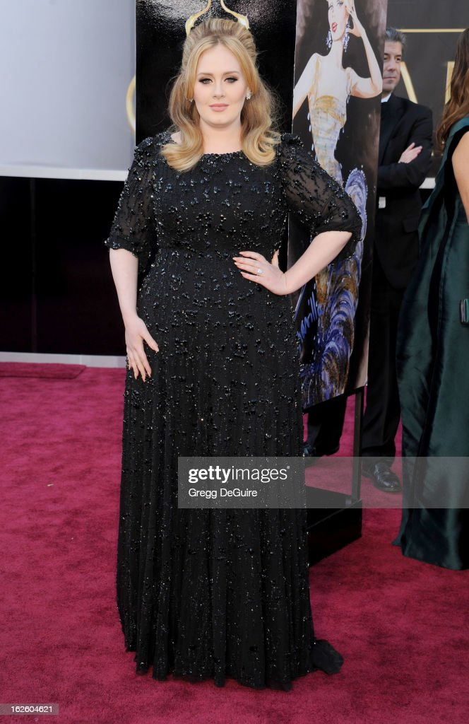 Singer <a gi-track='captionPersonalityLinkClicked' href=/galleries/search?phrase=Adele+-+Singer&family=editorial&specificpeople=4898935 ng-click='$event.stopPropagation()'>Adele</a> Adkins arrives at the Oscars at Hollywood & Highland Center on February 24, 2013 in Hollywood, California.