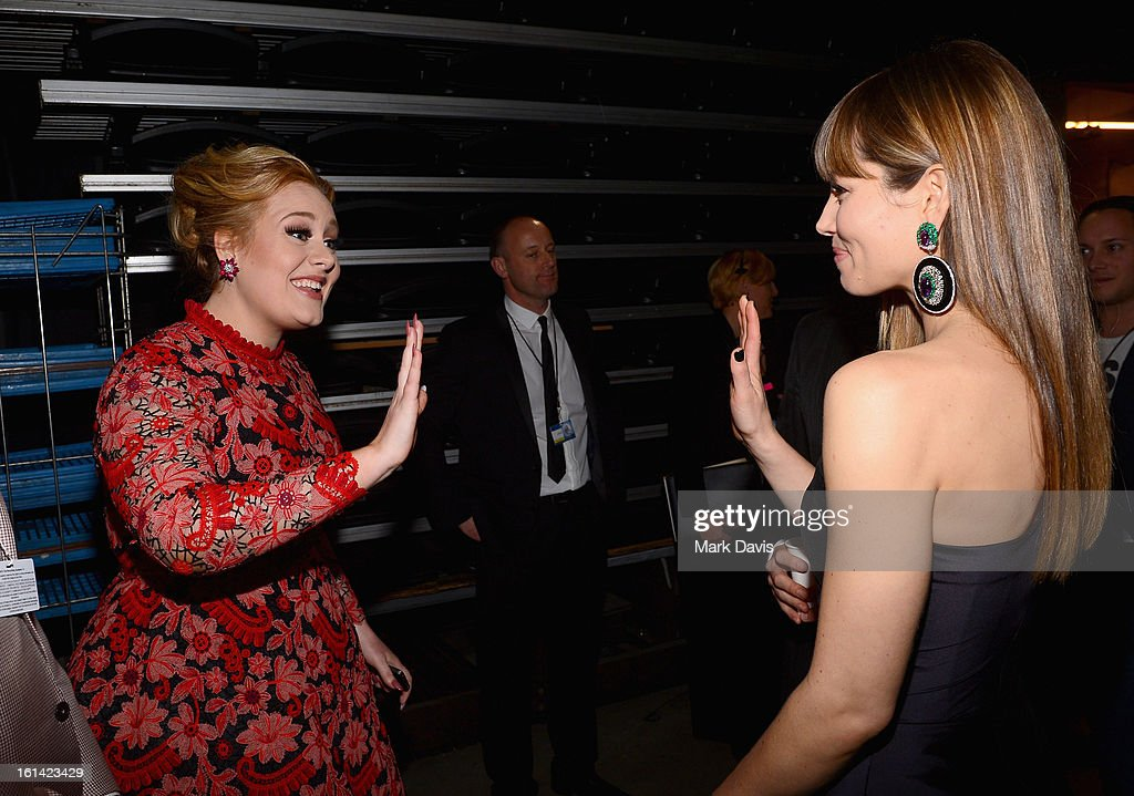Singer Adele and actress Jessica Biel attend the 55th Annual GRAMMY Awards at STAPLES Center on February 10, 2013 in Los Angeles, California.