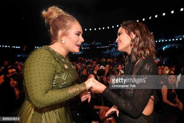 Singer Adele and media personality Chrissy Teigen during The 59th GRAMMY Awards at STAPLES Center on February 12 2017 in Los Angeles California