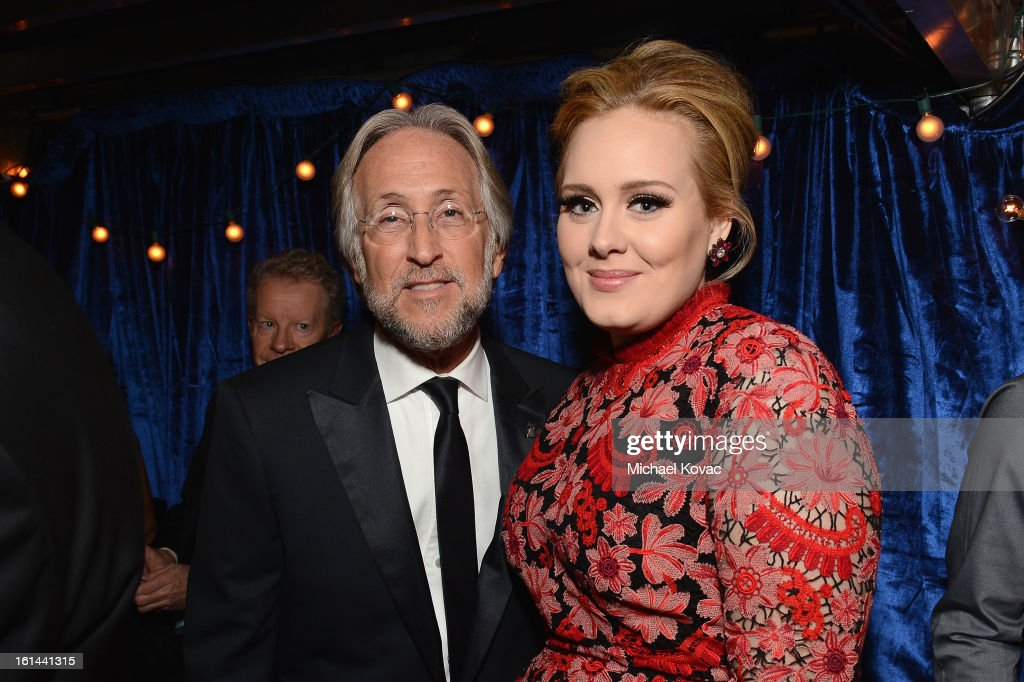 Singer Adele (R) and president/CEO of The Recording Academy Neil Portnow attend the 55th Annual GRAMMY Awards at STAPLES Center on February 10, 2013 in Los Angeles, California.