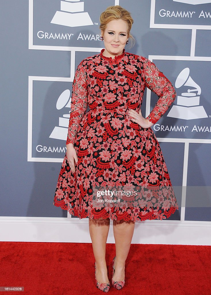 Singer <a gi-track='captionPersonalityLinkClicked' href=/galleries/search?phrase=Adele+-+Singer&family=editorial&specificpeople=4898935 ng-click='$event.stopPropagation()'>Adele</a> arrives at The 55th Annual GRAMMY Awards at Staples Center on February 10, 2013 in Los Angeles, California.