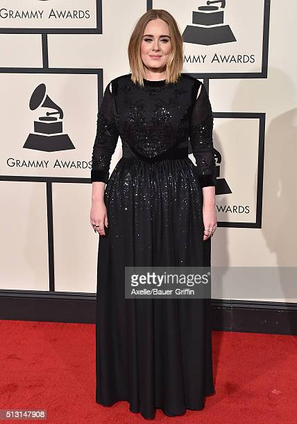 Singer Adele arrives at The 58th GRAMMY Awards at Staples Center on February 15 2016 in Los Angeles California