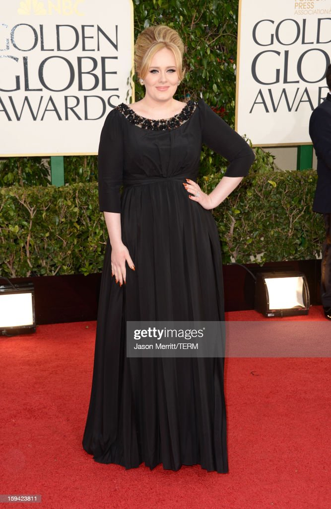 Singer <a gi-track='captionPersonalityLinkClicked' href=/galleries/search?phrase=Adele+-+Singer&family=editorial&specificpeople=4898935 ng-click='$event.stopPropagation()'>Adele</a> arrives at the 70th Annual Golden Globe Awards held at The Beverly Hilton Hotel on January 13, 2013 in Beverly Hills, California.