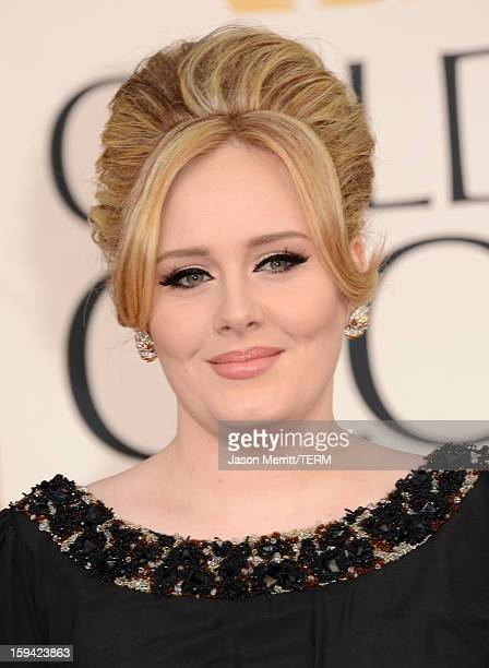 Singer Adele arrives at the 70th Annual Golden Globe Awards held at The Beverly Hilton Hotel on January 13 2013 in Beverly Hills California