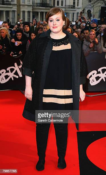 Singer Adele arrives at the Brit Awards 2008 at Earls Court on February 20 2008 in London England