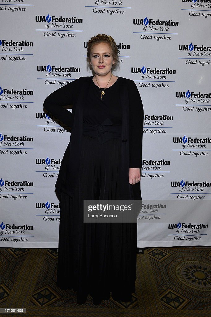 Singer <a gi-track='captionPersonalityLinkClicked' href=/galleries/search?phrase=Adele+-+Singer&family=editorial&specificpeople=4898935 ng-click='$event.stopPropagation()'>Adele</a> attends a luncheon honoring Rob Stringer as UJA-Federation of New York Music Visionary of 2013 at The Pierre Hotel on June 21, 2013 in New York City.