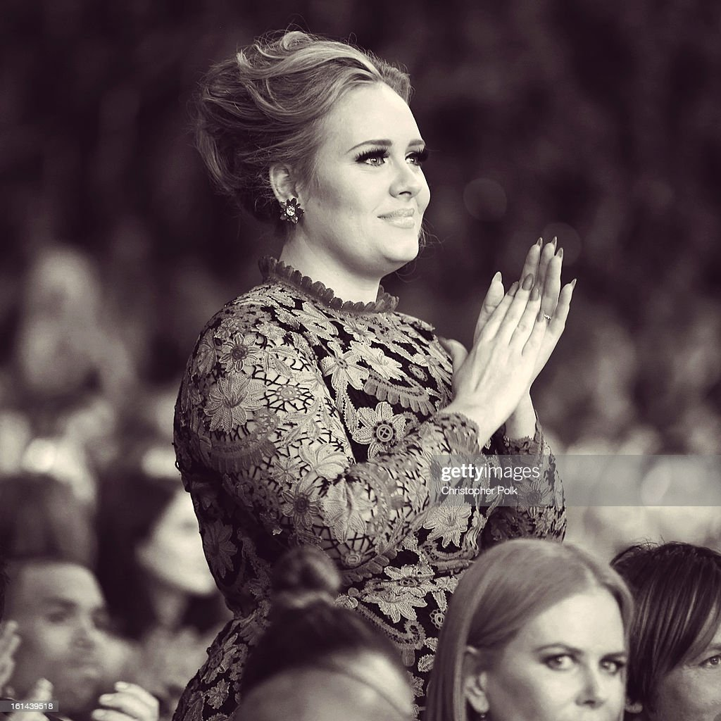 Singer <a gi-track='captionPersonalityLinkClicked' href=/galleries/search?phrase=Adele+-+Cantante&family=editorial&specificpeople=4898935 ng-click='$event.stopPropagation()'>Adele</a> attends the 55th Annual GRAMMY Awards at STAPLES Center on February 10, 2013 in Los Angeles, California.