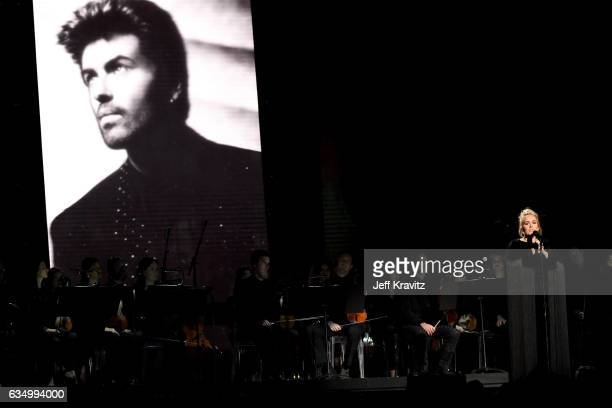 Singer Adele performs a tribute to the late George Michael onstage during The 59th GRAMMY Awards at STAPLES Center on February 12 2017 in Los Angeles...