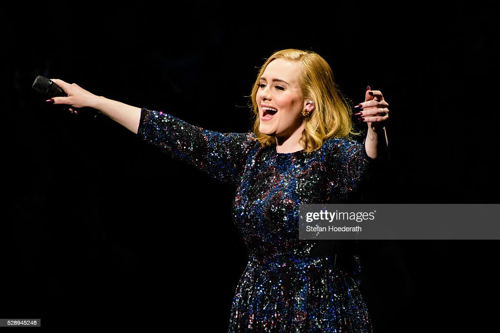 Singer <a gi-track='captionPersonalityLinkClicked' href=/galleries/search?phrase=Adele+-+Singer&family=editorial&specificpeople=4898935 ng-click='$event.stopPropagation()'>Adele</a> performs live on stage during a concert at Mercedes-Benz Arena on May 07, 2016 in Berlin, Germany.