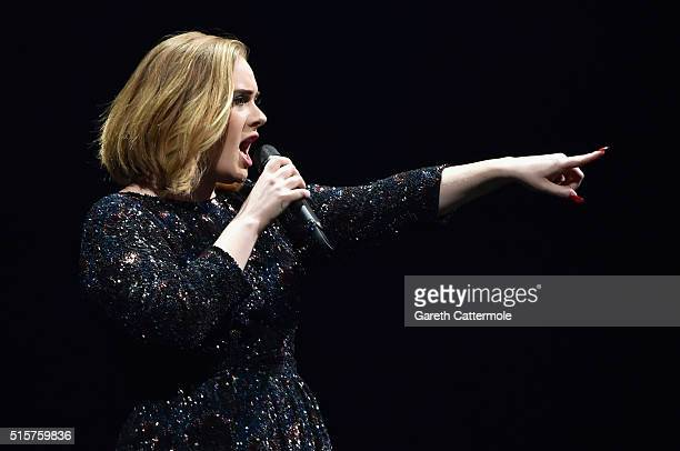 Singer Adele performs on stage at The O2 Arena on March 15 2016 in London England