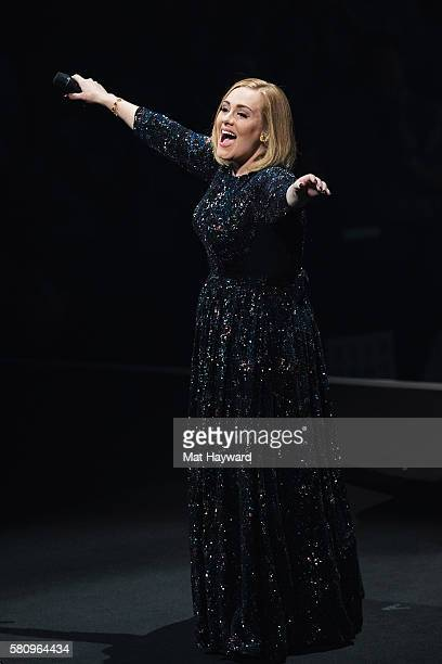 Singer Adele performs on stage during her North American tour at KeyArena on July 25 2016 in Seattle Washington