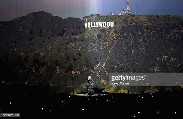 Singer Adele performs on stage during her North American tour at Staples Center on August 5 2016 in Los Angeles California