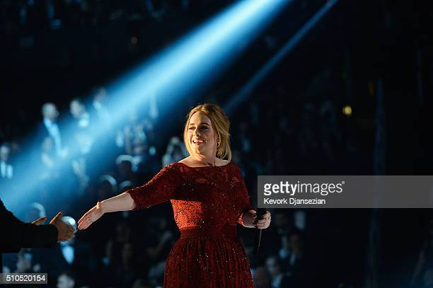Singer Adele performs onstage during The 58th GRAMMY Awards at Staples Center on February 15 2016 in Los Angeles California