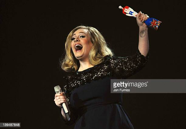 Singer Adele receives the award for British Album during The BRIT Awards 2012 at the O2 Arena on February 21 2012 in London England