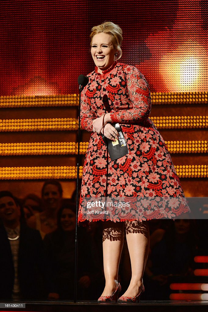 Singer <a gi-track='captionPersonalityLinkClicked' href=/galleries/search?phrase=Adele+-+Cantora&family=editorial&specificpeople=4898935 ng-click='$event.stopPropagation()'>Adele</a> speaks onstage at the 55th Annual GRAMMY Awards at Staples Center on February 10, 2013 in Los Angeles, California.