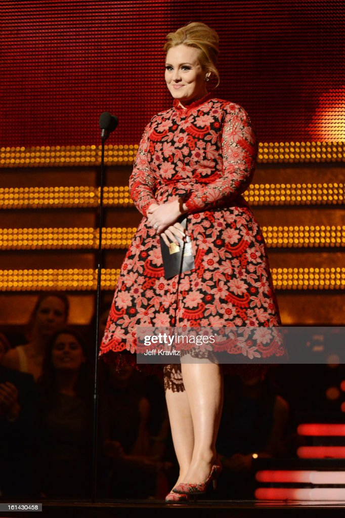 Singer <a gi-track='captionPersonalityLinkClicked' href=/galleries/search?phrase=Adele+-+Singer&family=editorial&specificpeople=4898935 ng-click='$event.stopPropagation()'>Adele</a> speaks onstage at the 55th Annual GRAMMY Awards at Staples Center on February 10, 2013 in Los Angeles, California.