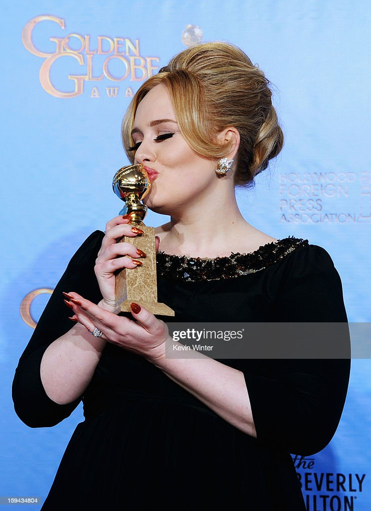Singer Adele winner of Best Original Song for a Motion Picture for 'Skyfall' from 'Skyfall' poses in the press room during the 70th Annual Golden...