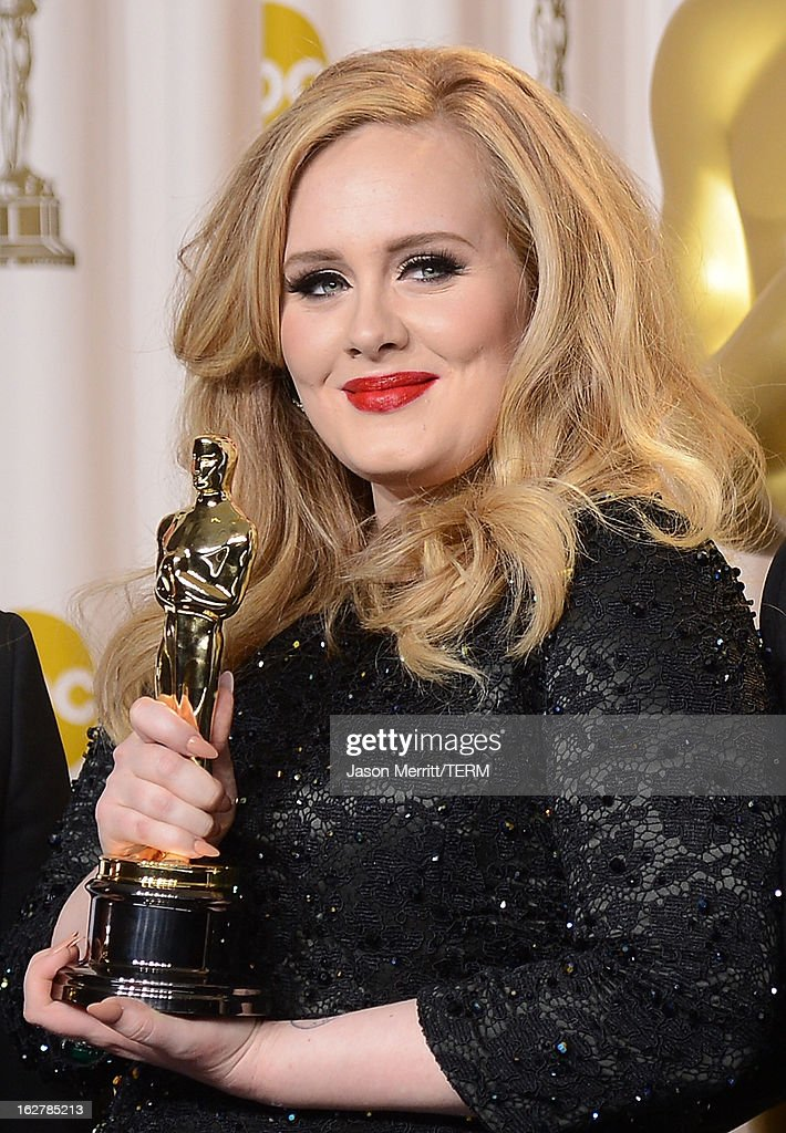 Singer Adele, winner of the Best Original Song award for 'Skyfall,' poses in the press room during the Oscars held at Loews Hollywood Hotel on February 24, 2013 in Hollywood, California.