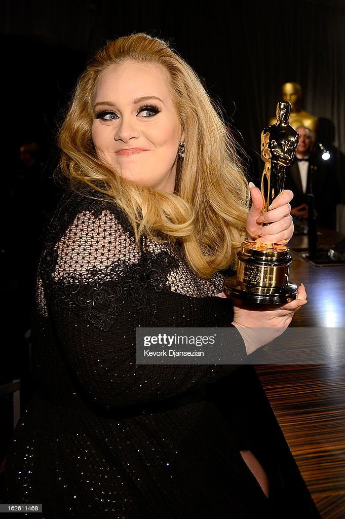 Singer <a gi-track='captionPersonalityLinkClicked' href=/galleries/search?phrase=Adele+-+Singer&family=editorial&specificpeople=4898935 ng-click='$event.stopPropagation()'>Adele</a>, winner of the Best Original Song award for 'Skyfall,' attends the Oscars Governors Ball at Hollywood & Highland Center on February 24, 2013 in Hollywood, California.