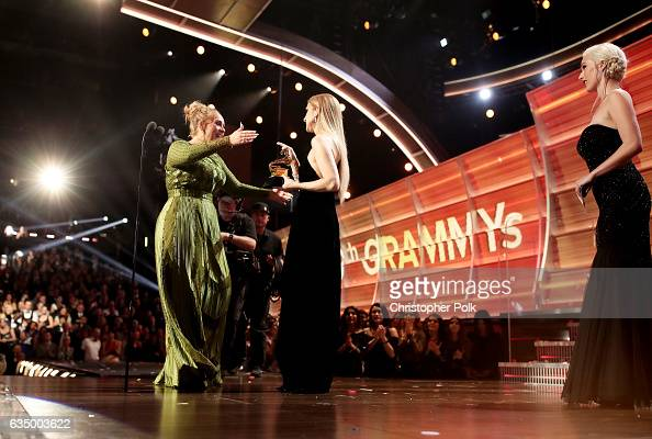 Singer Adele wins the award for Song of The Year for 'Hello' during The 59th GRAMMY Awards at STAPLES Center on February 12 2017 in Los Angeles...