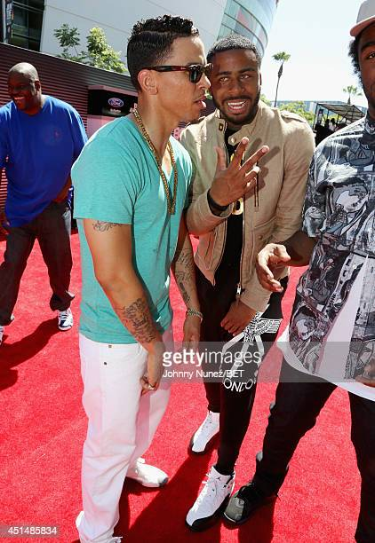 Singer Adrian Marcel and rapper Sage The Gemini attend the BET AWARDS '14 at Nokia Theatre LA LIVE on June 29 2014 in Los Angeles California