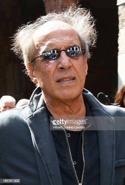 Singer Adriano Celentano attends the funeral of Singer Enzo Jannacci at Basilica di Sant'Ambrogio on April 2 2013 in Milan Italy
