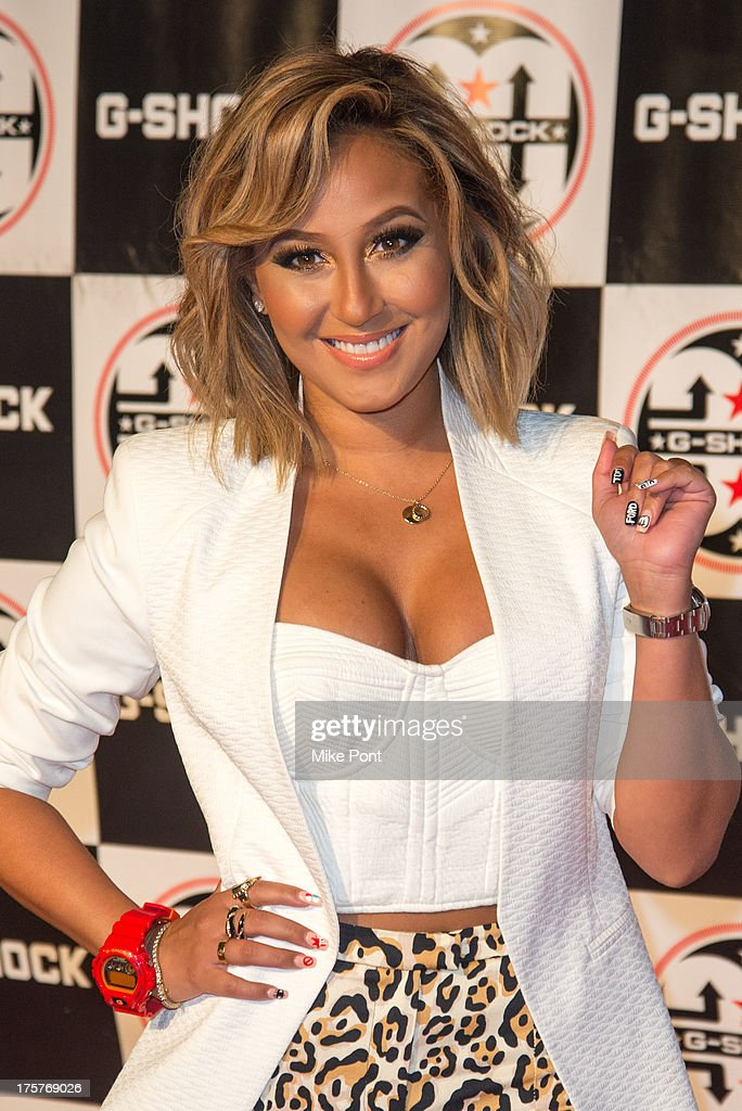 Singer <a gi-track='captionPersonalityLinkClicked' href=/galleries/search?phrase=Adrienne+Bailon&family=editorial&specificpeople=540286 ng-click='$event.stopPropagation()'>Adrienne Bailon</a> attends G-Shock - Shock The World 2013 at Basketball City - Pier 36 - South Street on August 7, 2013 in New York City.